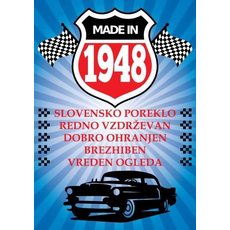 Voščilo, čestitka modra, avto, made in 1948, bleščice/zlatotisk