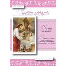 Voščilo, čestitka, Ob Svetem Obhajilu, roza, Naj spomini na tvoje Sveto obhajilo - bleščice/zlatotisk