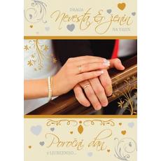 Voščilo, čestitka, poročna, draga nevesta in ženin - bleščice/zlatotisk