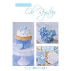 Voščilo, čestitka - Ob rojstvu, modra, z ljubeznijo, bleščice/zlatotisk