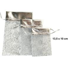 Vrečka dekorativna iz organze, srebrna, 13.5x10cm