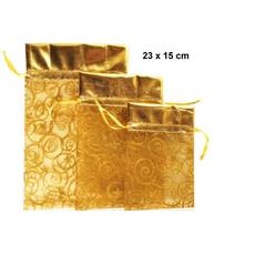Vrečka dekorativna iz organze, zlata, 23x15cm