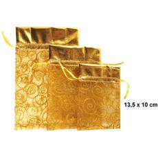 Vrečka dekorativna iz organze, zlata, 13.5x10cm