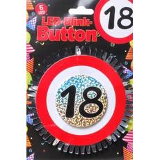"""Broška z utripajočimi Led lučkami, prometni znak """"18"""", fi 12cm"""