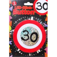 """Broška z utripajočimi Led lučkami, prometni znak """"30"""", fi 12cm"""