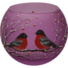 Svečnik steklen, okrogel, kalin, lila, 8 cm
