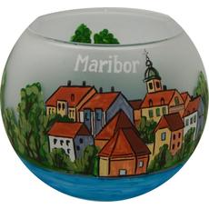 Svečnik steklen, okrogel, Maribor, 8 cm
