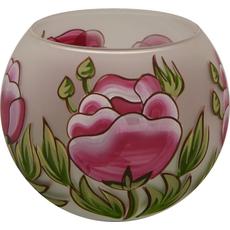 Svečnik steklen, okrogel, potonika, 8 cm