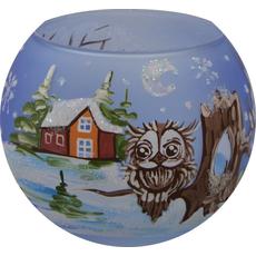 Svečnik steklen, okrogel, sova, svetlo moder, 8 cm