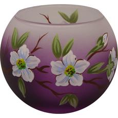 Svečnik steklen, okrogel, veja jablane, lila bel, 8 cm