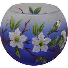 Svečnik steklen, okrogel, veja jablane, modro bel, 8 cm