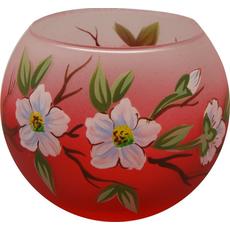 Svečnik steklen, okrogel, veja jablane, rdeče bel, 8 cm