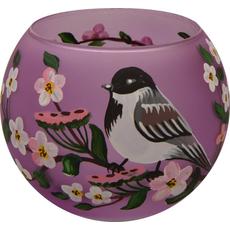 Svečnik steklen, okrogel, vrabec, lila, 8 cm