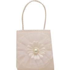 Darilna vrečka, tekstilna, bela z rožico, 8x4cm, sort.