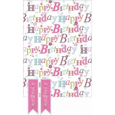 """Darilni papir in obešanka """"Birthday female"""" 50x70cm, 2/1"""