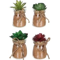 Dekorativen kaktus, umetno cvetje v steklenem lončku, 9cm, sort.