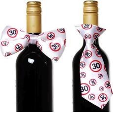 """Dekoracija za steklenico metuljček/kravata s prometnimi znaki, """"30"""""""