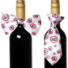 """Dekoracija za steklenico metuljček/kravata s prometnimi znaki, """"40"""""""