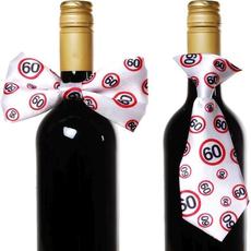 """Dekoracija za steklenico metuljček/kravata s prometnimi znaki, """"60"""""""