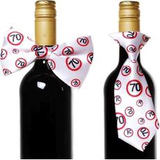 """Dekoracija za steklenico metuljček/kravata s prometnimi znaki, """"70"""""""