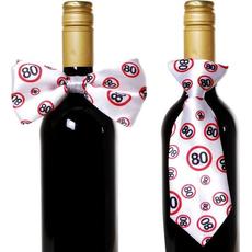 """Dekoracija za steklenico metuljček/kravata s prometnimi znaki, """"80"""""""