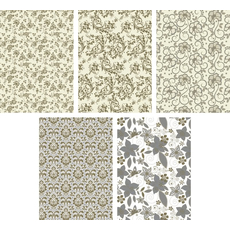 Darilni papir v roli 200 X 70 cm, motiv ornamentov/cvetlic, sortirano