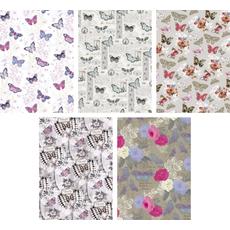 Darilni papir v roli 99,5 X 68,5 cm, motiv cvetlic/metuljev, sortirano