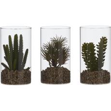 Dekorativen kaktus, umetno cvetje v steklenem lončku, 18cm, sort.