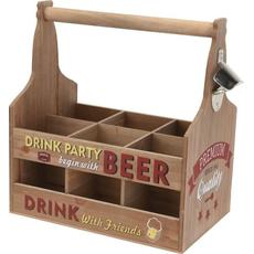 Lesena nosilka za 6 piv z odpiračem