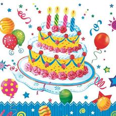 Papirnate serviete, rojstnodnevna torta, 33x33cm, 20kom