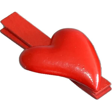 Srček na sponki, rdeč, 4.5cm