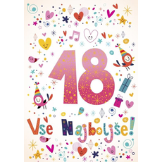 Voščilo, čestitka -  sv. roza, srčki, ptički, zvezdce, ...vse najboljše, 18