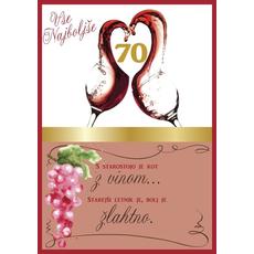 Voščilo, čestitka, belo/roza, kozarca  z rdečim vinom, 70, s starostjo....
