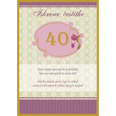 Voščilo, čestitka - bež, Iskrene čestitke, 40, tvoj rojstni dan...