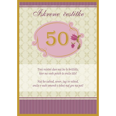 Voščilo, čestitka - bež, Iskrene čestitke, 50, tvoj rojstni dan...