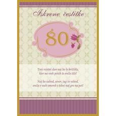Voščilo, čestitka - bež, Iskrene čestitke, 80, tvoj rojstni dan...