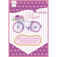 Voščilo, čestitka, roza s srčki, kolo, za najboljšo mamo