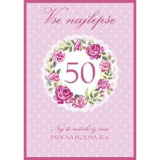 Voščilo, čestitka - roza, Vse najlepše, 50, naj to voščilo...
