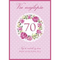 Voščilo, čestitka - roza, Vse najlepše, 70, naj to voščilo...