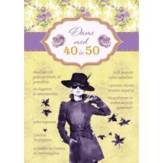 Voščilo, čestitka, rumena, ženska s klobukom, Dame med 40 in 50