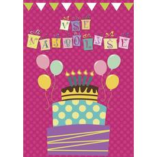 Voščilo, čestitka -  roza, rojstnodnevna torta in baloni, vse najboljše