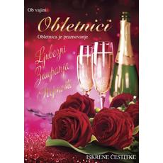 Voščilo, čestitka - šampanjec in vrtnice, Ob vajini obletnici