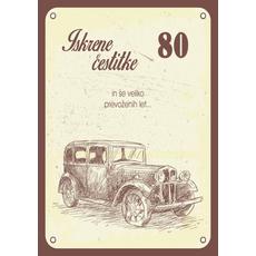 Voščilo, čestitka - avto, 80, Iskrene čestitke in veliko prevoženih let