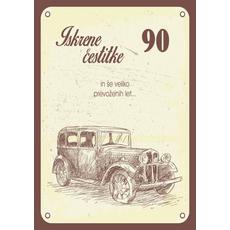 Voščilo, čestitka - avto, 90, Iskrene čestitke in veliko prevoženih let