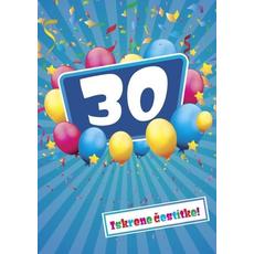 Voščilo, čestitka - modra, 30, baloni, Iskrene čestitke