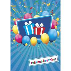 Voščilo, čestitka - modra, baloni, Iskrene čestitke