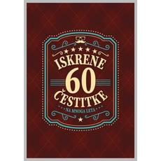 Voščilo, čestitka - rjava, 60, Iskrene čestitke na mnoga leta