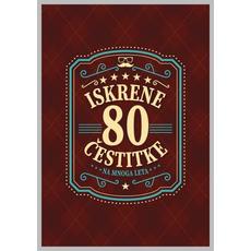 Voščilo, čestitka - rjava, 80, Iskrene čestitke na mnoga leta