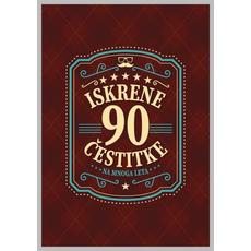 Voščilo, čestitka - rjava, 90, Iskrene čestitke na mnoga leta