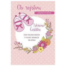 Voščilo, čestitka -roza, copatki, ob rojstvu vajine punčke, Iskrene čestitke